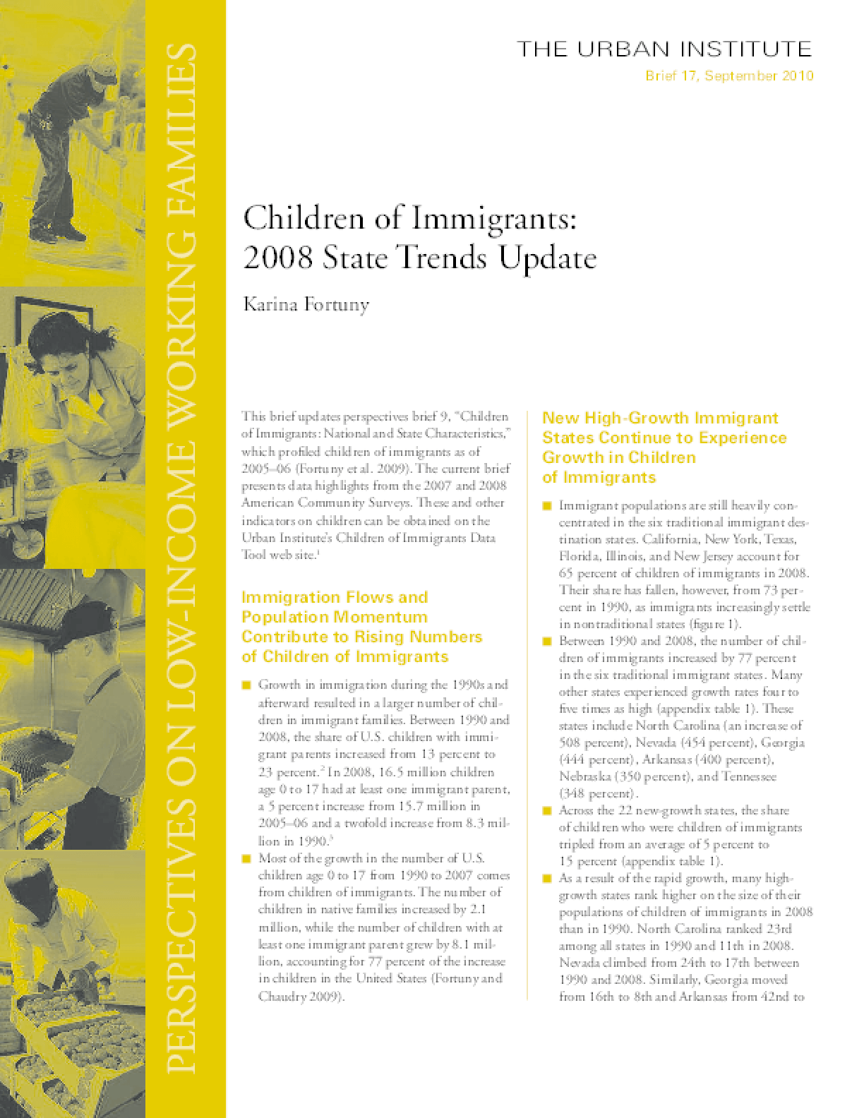 Children of Immigrants: 2008 State Trends Update