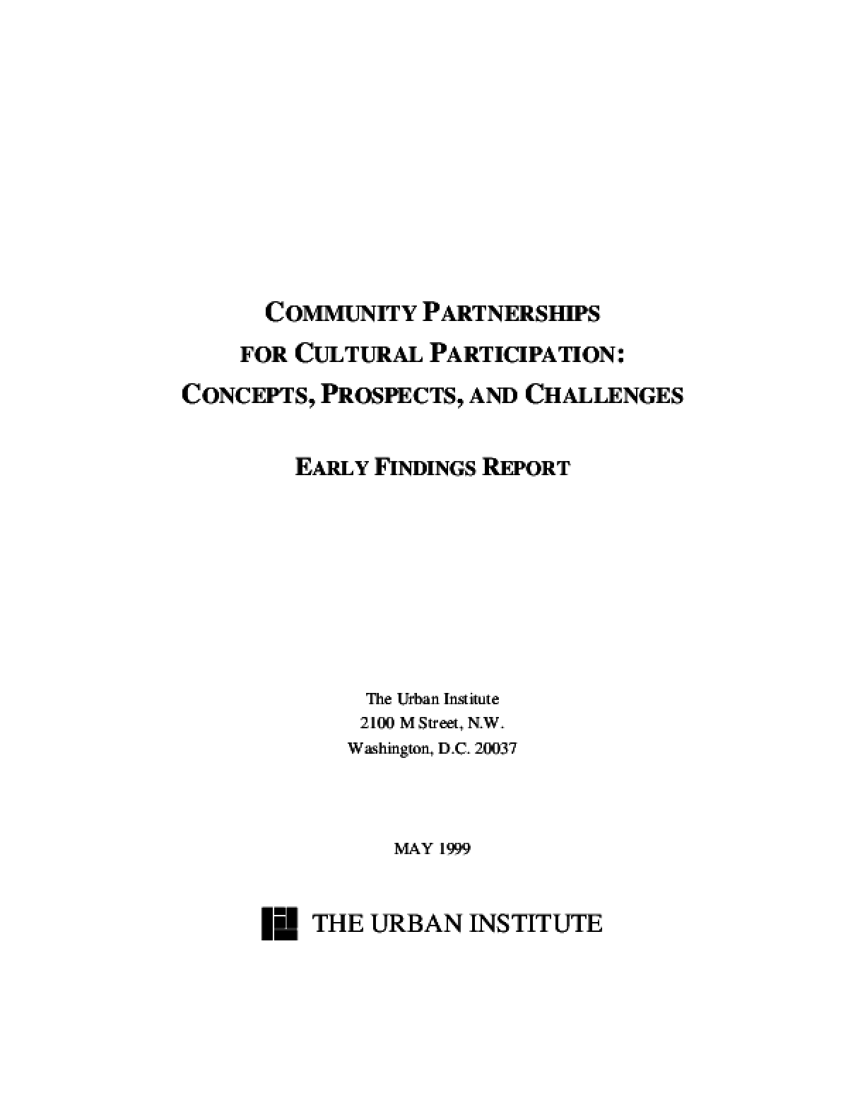 Community Partnerships for Cultural Participation: Concepts, Prospects, and Challenges