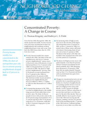 Concentrated Poverty: A Change in Course