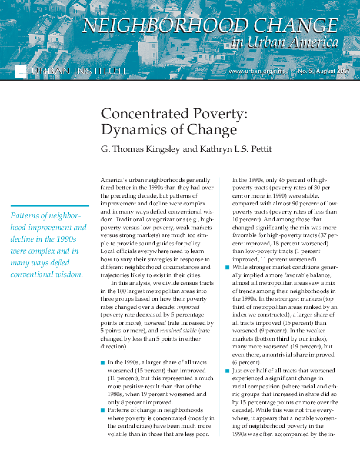 Concentrated Poverty: Dynamics of Change