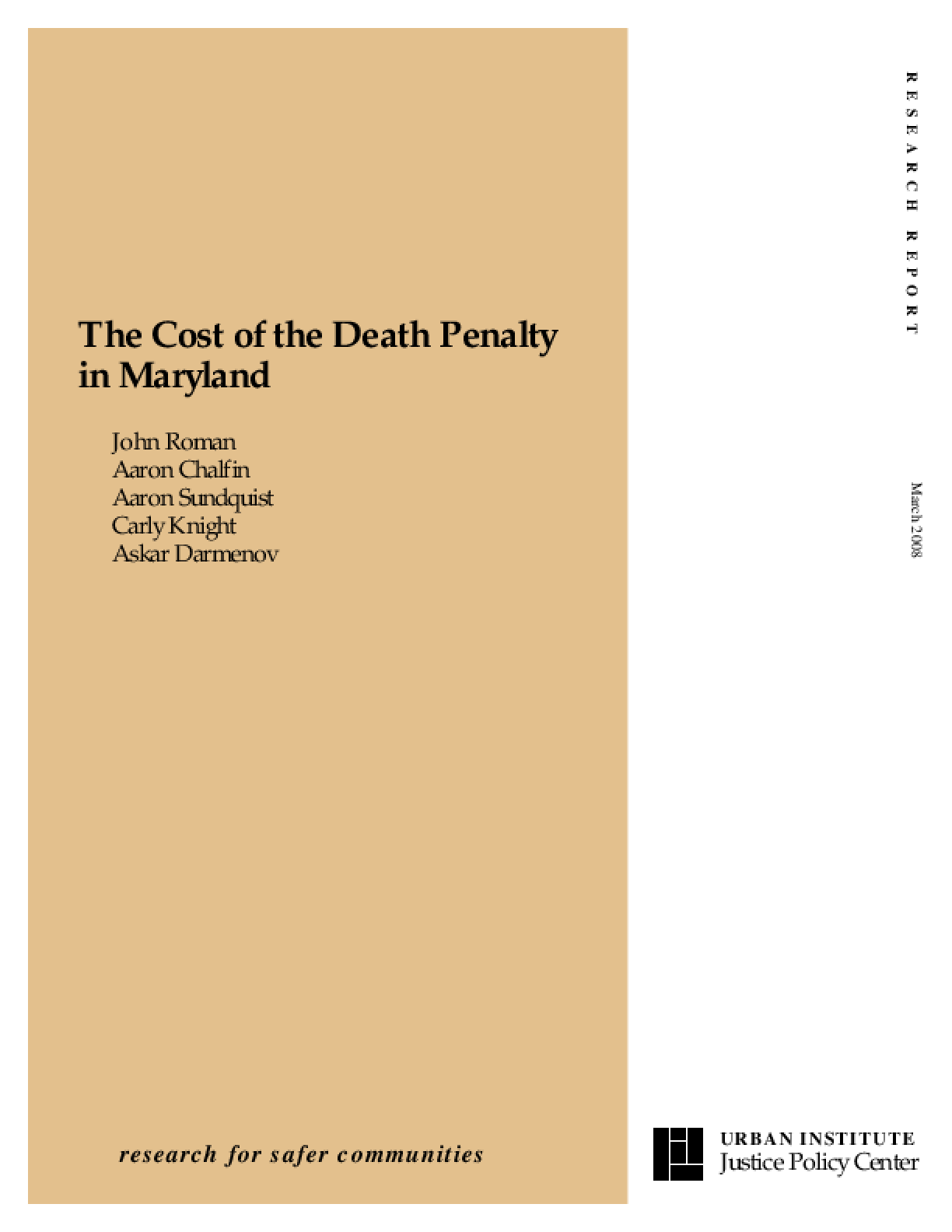 The Cost of the Death Penalty in Maryland
