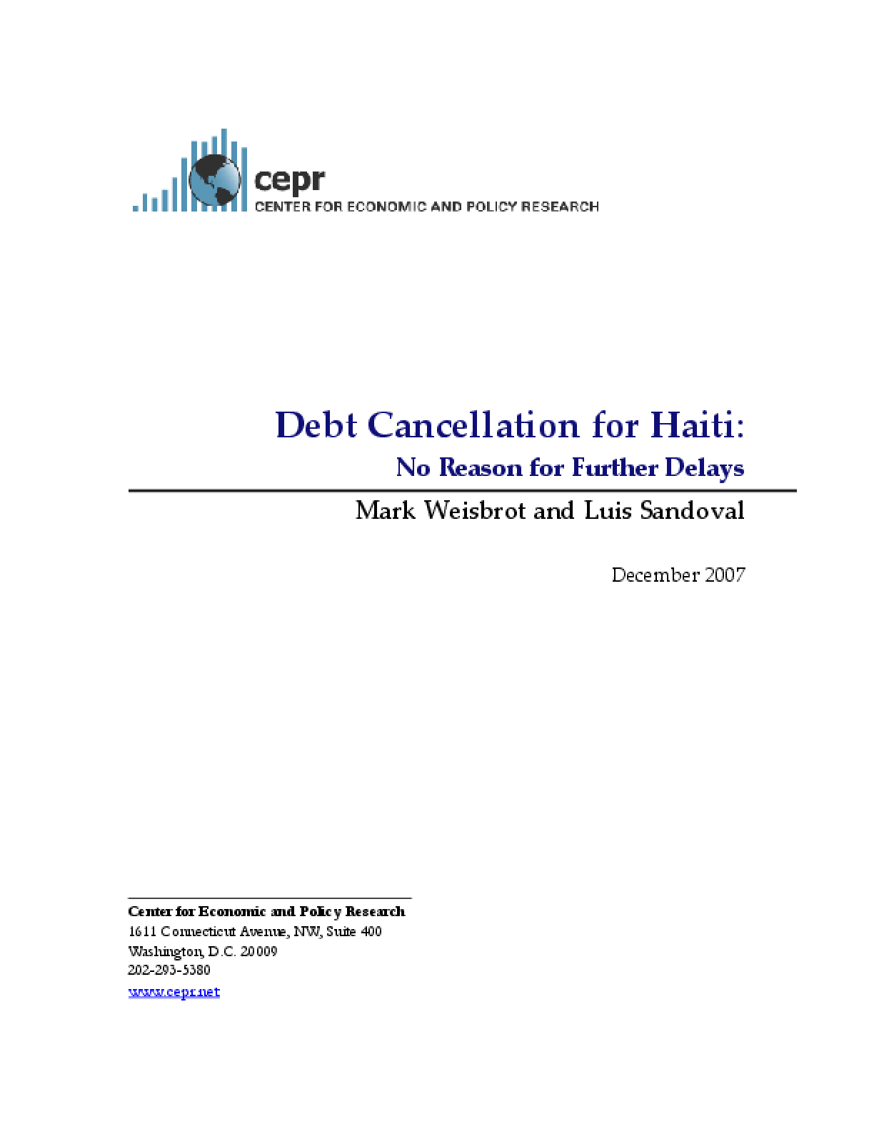 Debt Cancellation for Haiti: No Reason for Further Delays