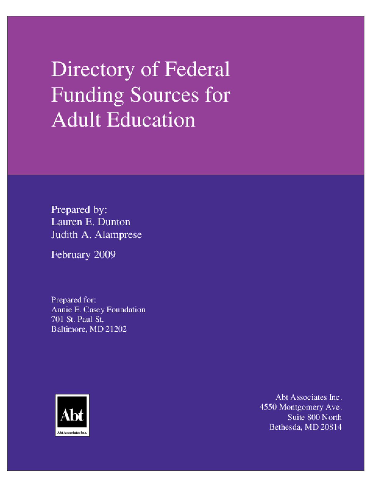 Directory of Federal Funding Sources for Adult Education