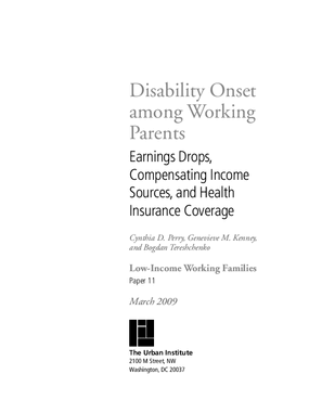 Disability Onset Among Working Parents: Earnings Drops, Compensating Income Sources and Health Insurance Coverage