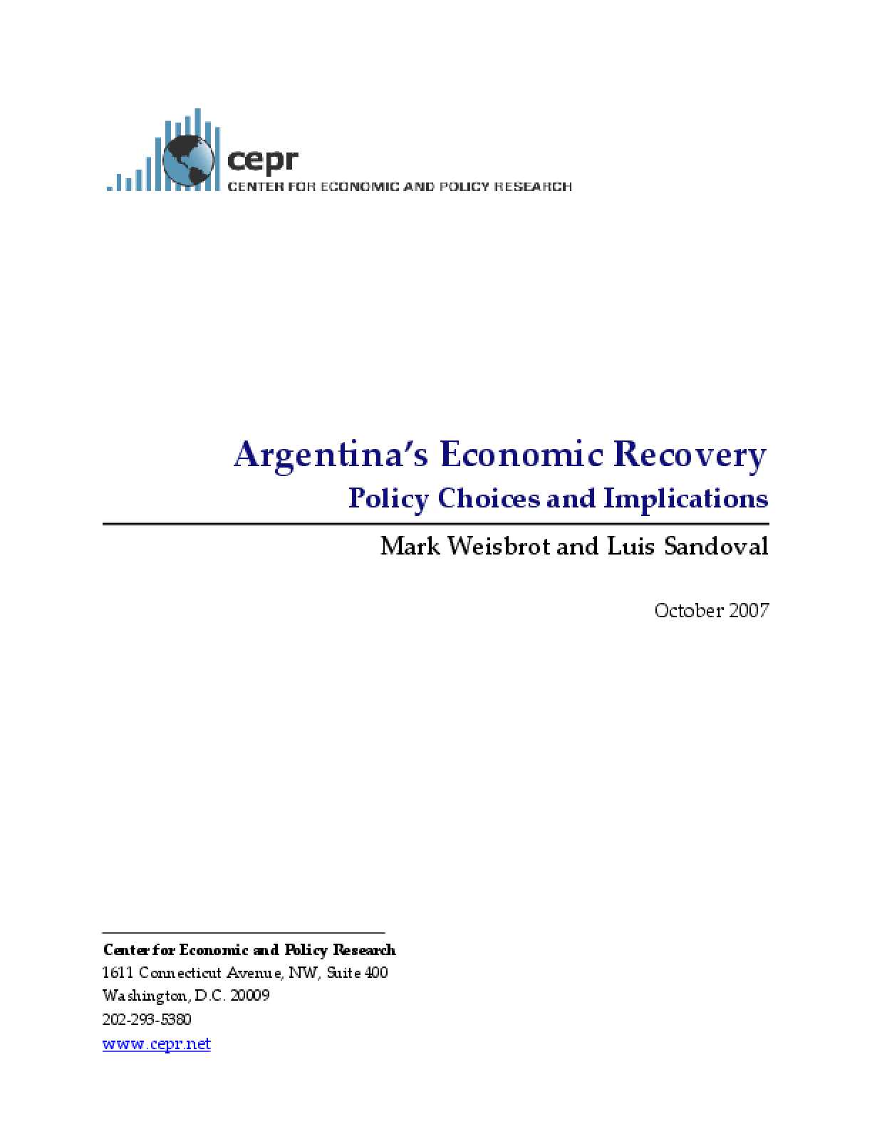 argentina s economic recovery policy choices and implications
