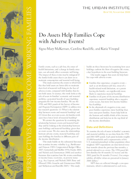 Do Assets Help Families Cope With Adverse Events?