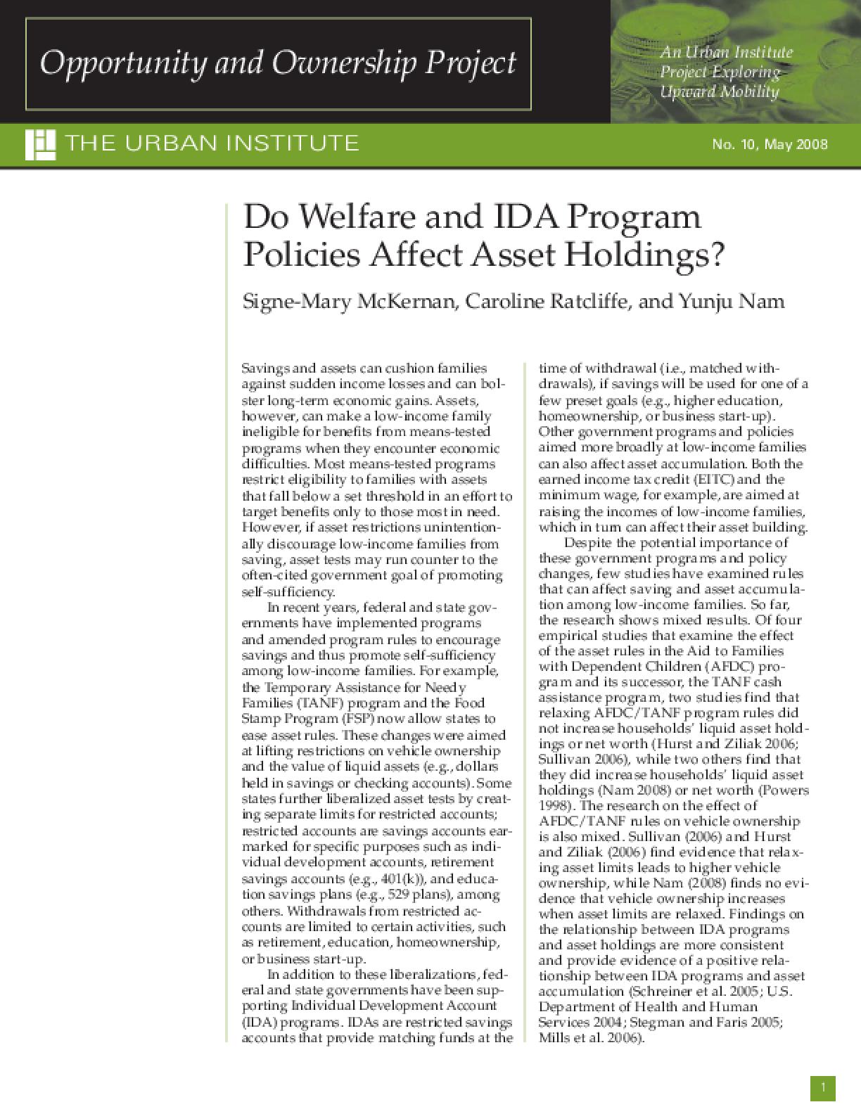 Do Welfare and IDA Program Policies Affect Asset Holdings?