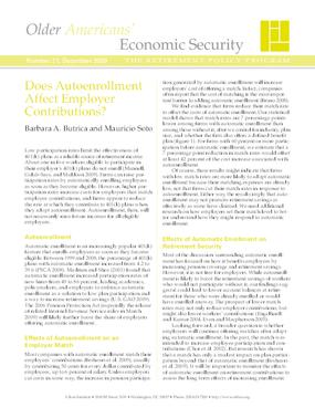 Does Autoenrollment Affect Employer Contributions?