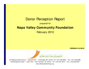 Donor Perception Report: Napa Valley Community Foundation