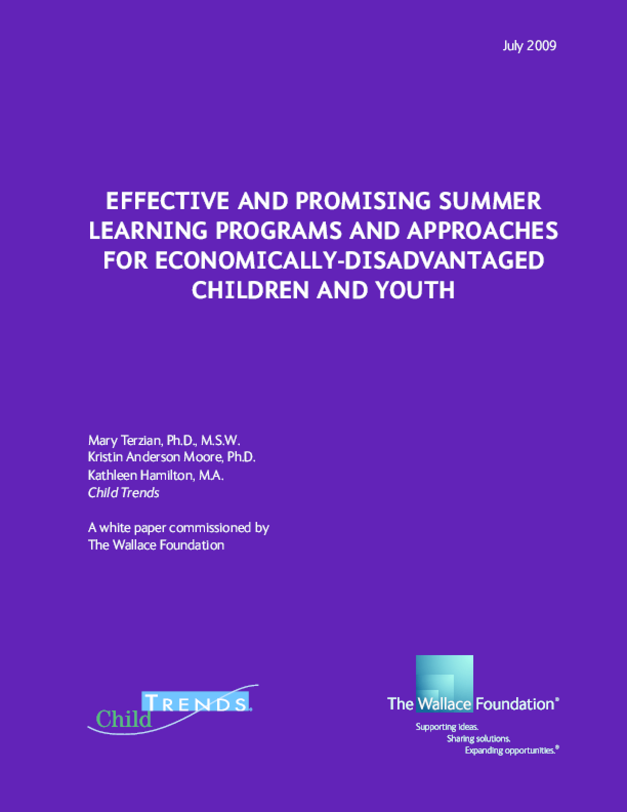 Effective and Promising Summer Learning Programs and Approaches for Economically-Disadvantaged Children and Youth