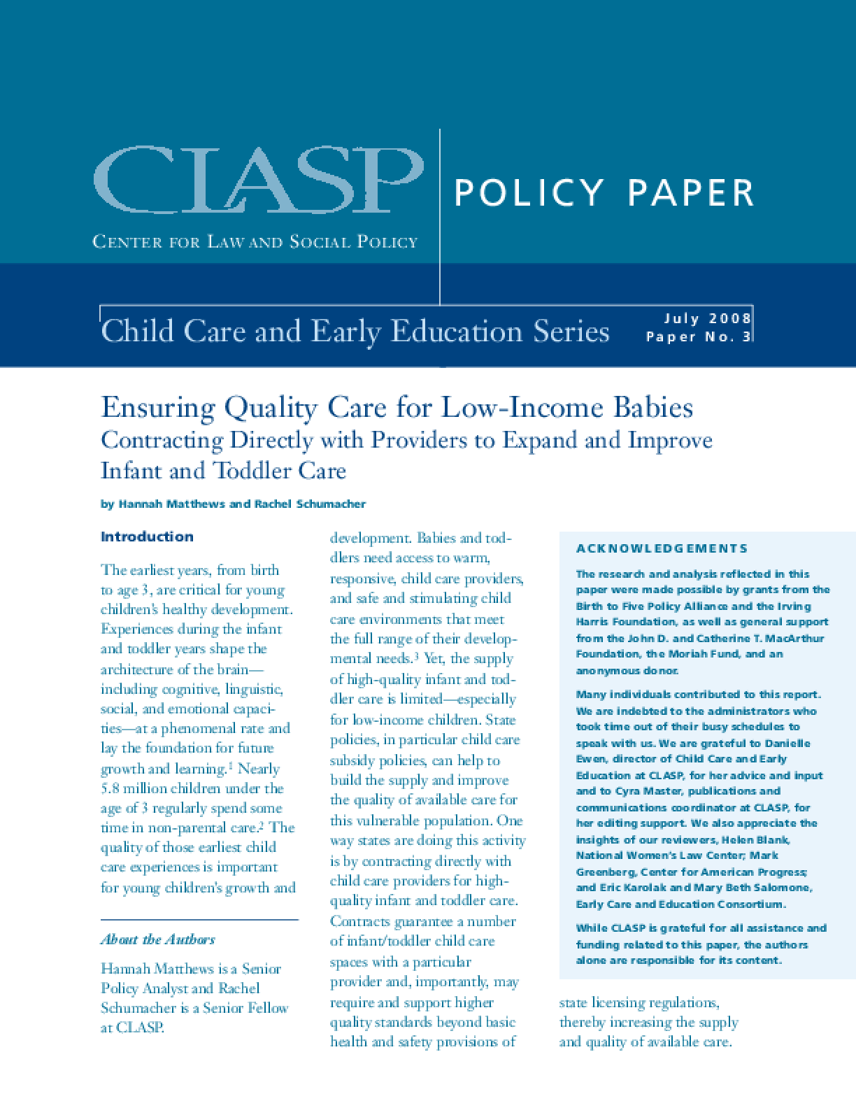 Ensuring Quality Care for Low-Income Babies: Contracting Directly With Providers to Expand and Improve Infant and Toddler Care