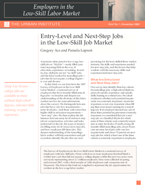 Entry-Level and Next-Step Jobs in the Low-Skill Job Market