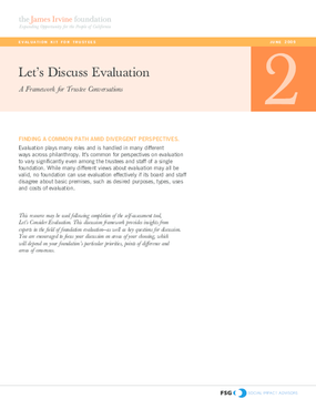 Evaluation Kit for Trustees: Let's Discuss Evaluation: A Framework for Trustee Conversations