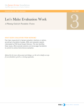 Evaluation Kit for Trustees: Let's Make Evaluation Work: A Planning Guide for Foundation Trustees