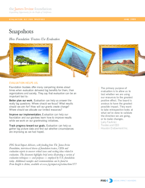 Evaluation Kit for Trustees: Snapshots: How Foundation Trustees Use Evaluation