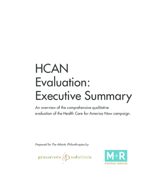 Evaluation: Executive Summary of Findings and Lessons From the HCAN Campaign