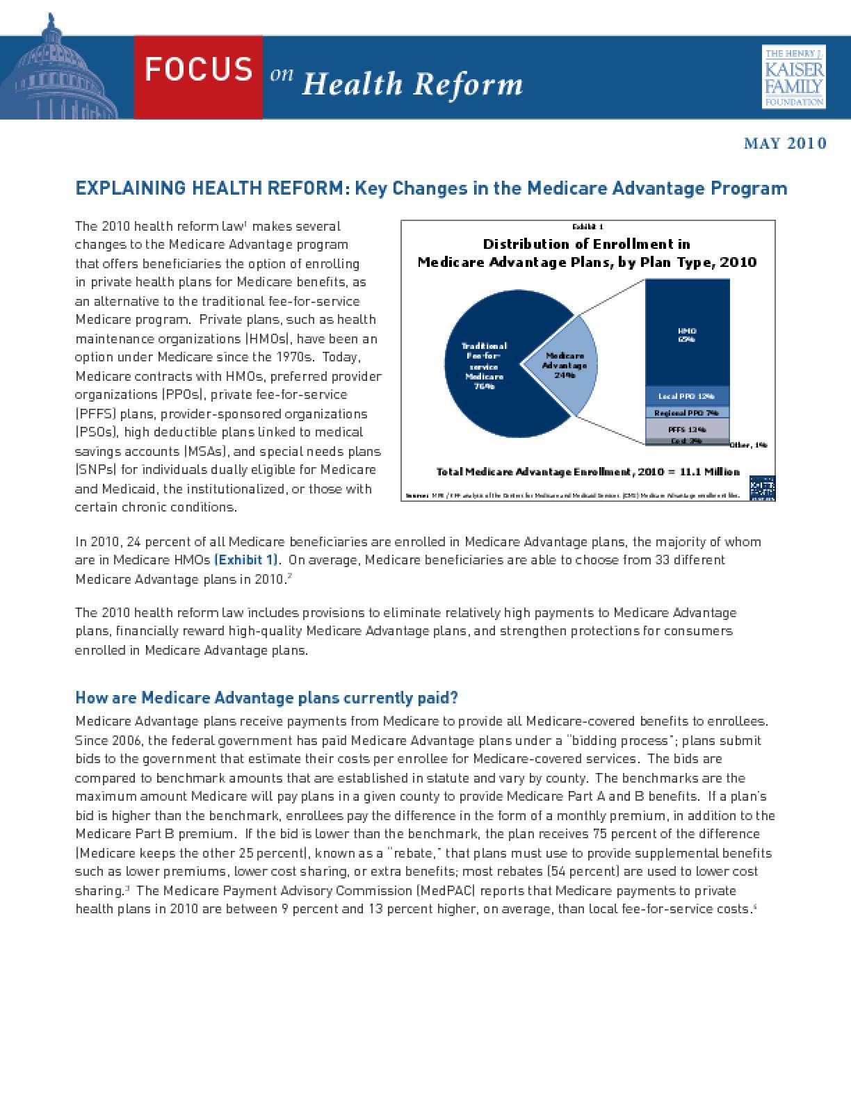 Explaining Health Reform: Key Changes in the Medicare Advantage Program