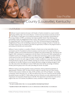 Family to Family Site Profile: Jefferson County (Louisville), Kentucky