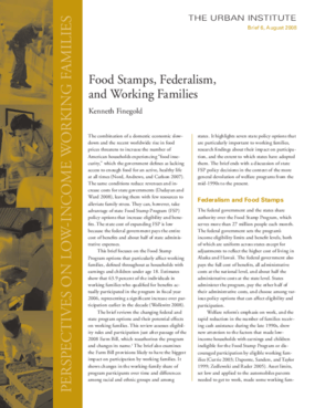 Food Stamps, Federalism, and Working Families