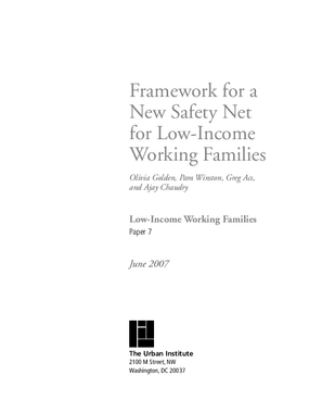 Framework for a New Safety Net for Low-Income Working Families