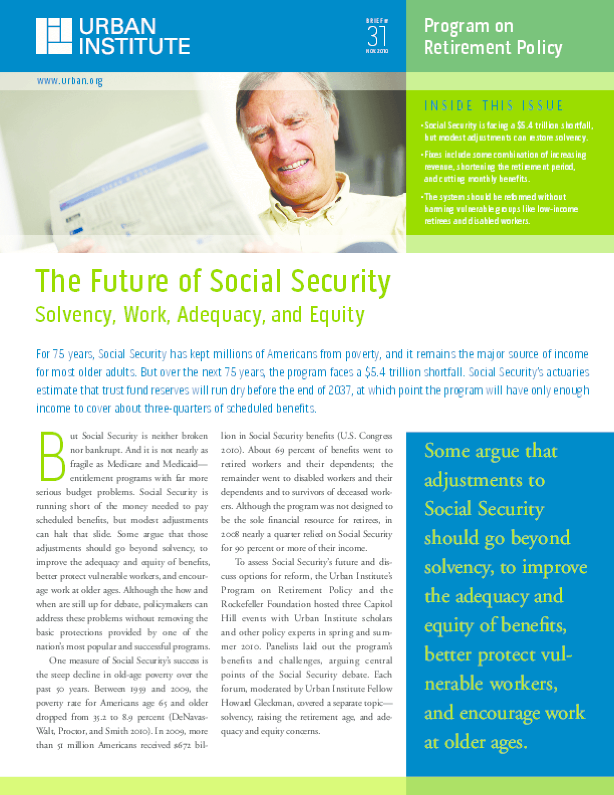 The Future of Social Security: Solvency, Work, Adequacy, and Equity
