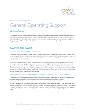 General Operating Support Action Guide: Executive Summary