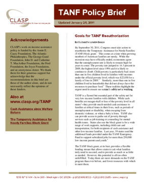 Goals for TANF Reauthorization