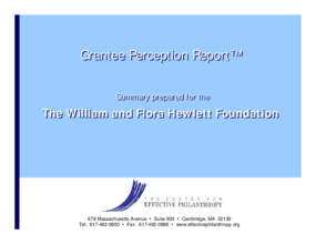Grantee Perception Report 2003: William and Flora Hewlett Foundation