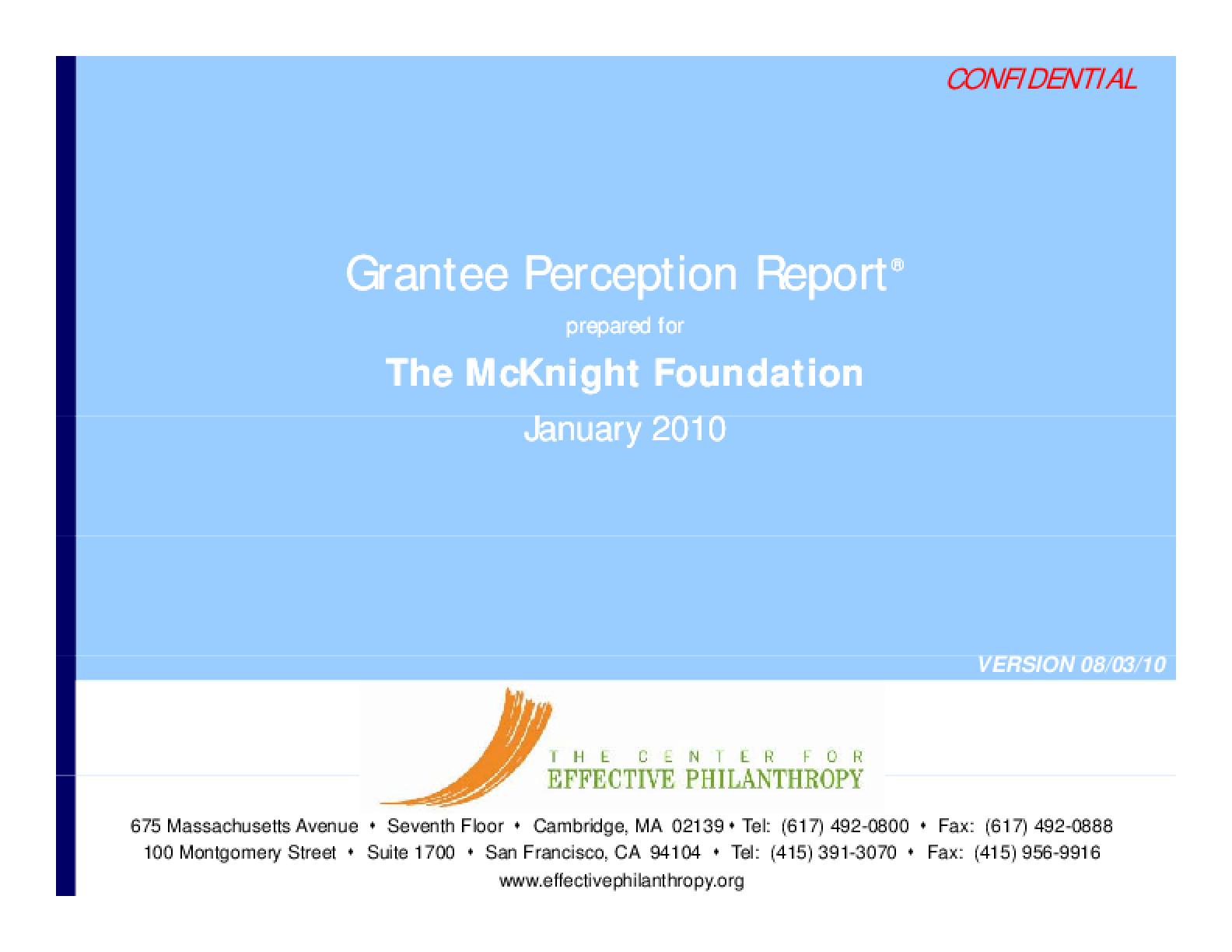 Grantee Perception Report 2009: McKnight Foundation