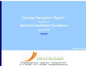 Grantee Perception Report: California HealthCare Foundation