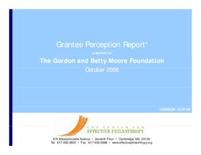 Grantee Perception Report: Gordon and Betty Moore Foundation