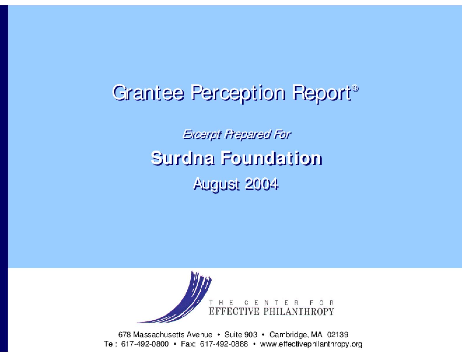 Grantee Perception Report: Surdna Foundation