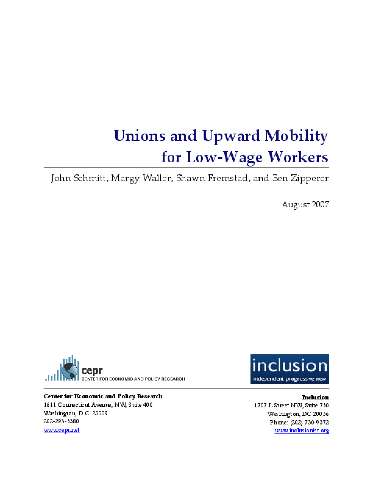 Unions and Upward Mobility for Low-Wage Workers