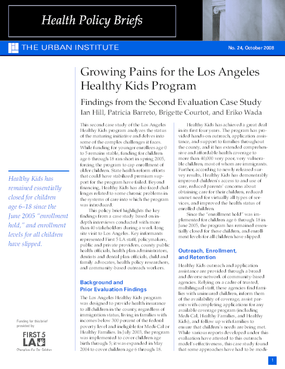 Growing Pains for the Los Angeles Healthy Kids Program: Findings From the Second Evaluation Case Study (Nov 2008)