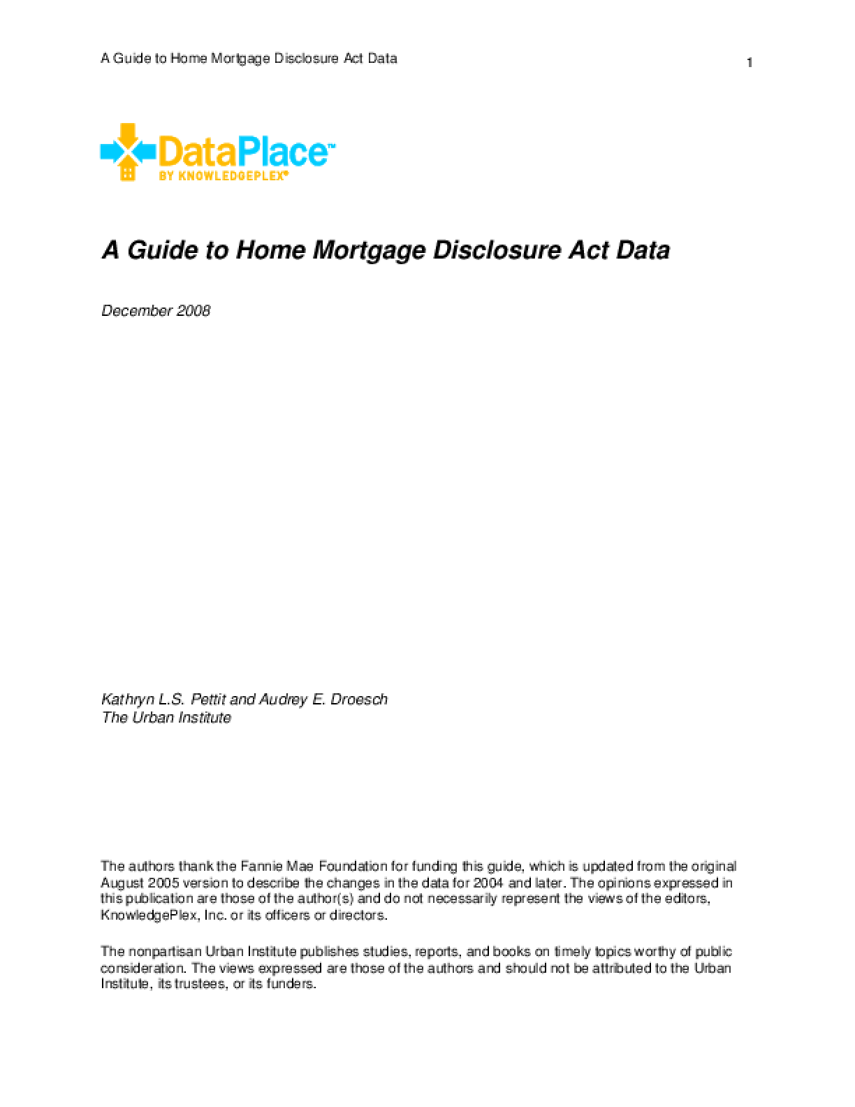 A Guide to Home Mortgage Disclosure Act Data