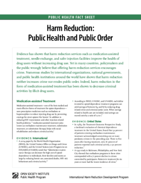 Harm Reduction: Public Health and Public Order