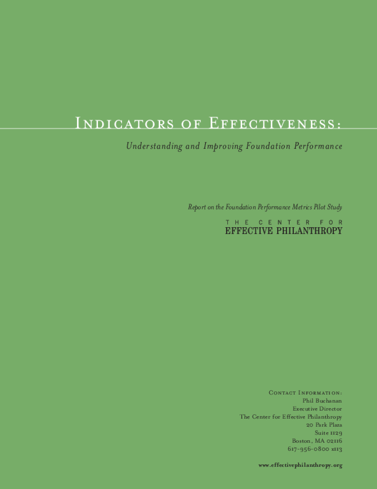 Indicators of Effectiveness: Understanding and Improving Foundation Performance