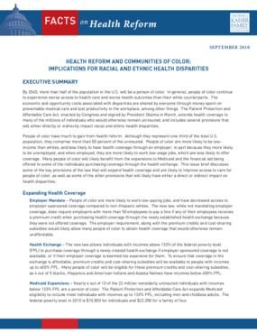 Health Reform and Communities of Color: Implications for Racial and Ethnic Health Disparities