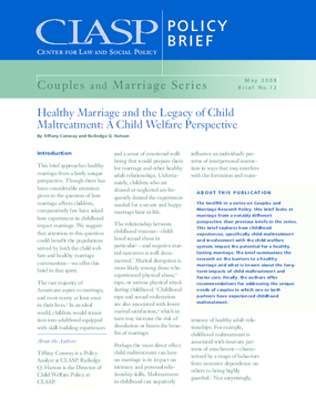 Healthy Marriage and the Legacy of Child Maltreatment: A Child Welfare Perspective
