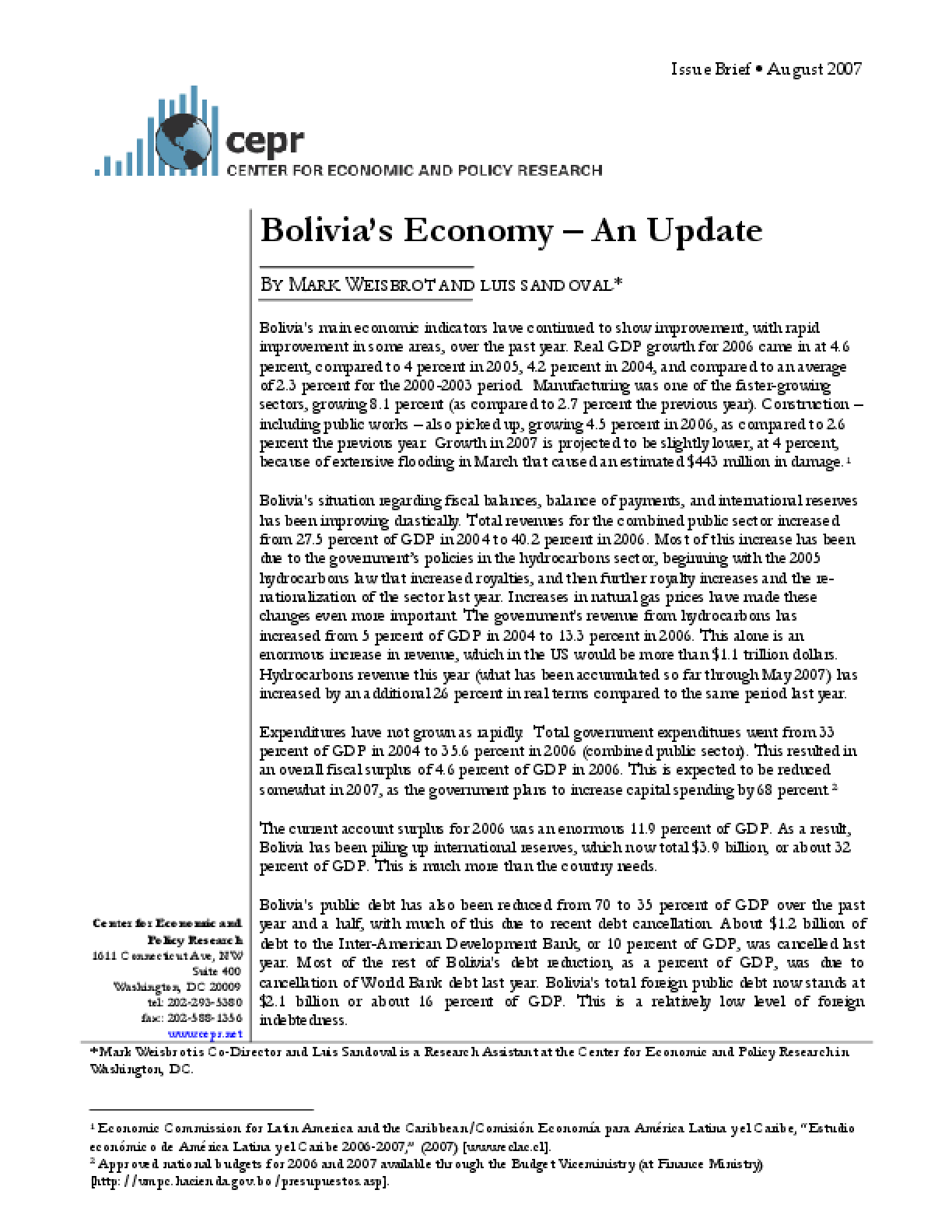 Bolivia's Economy - An Update