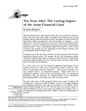 Ten Years After: The Lasting Impact of the Asian Financial Crisis