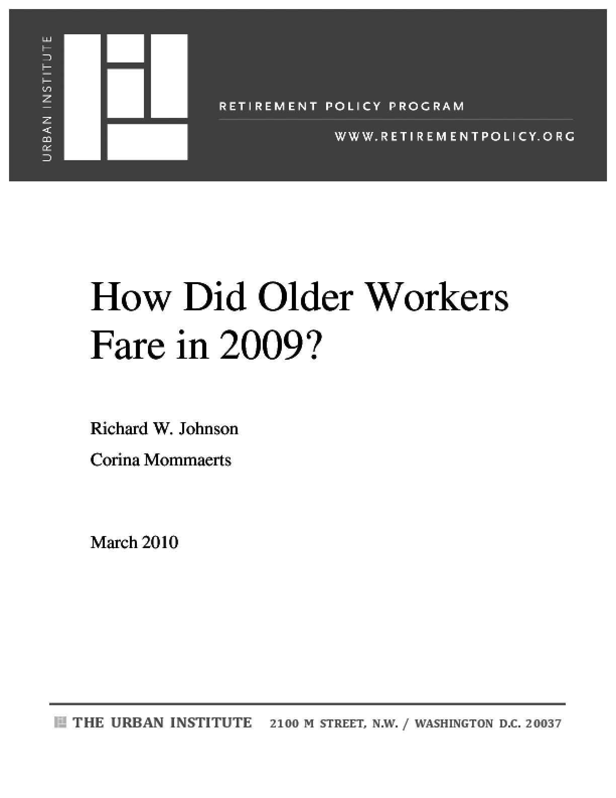 How Did Older Workers Fare in 2009?