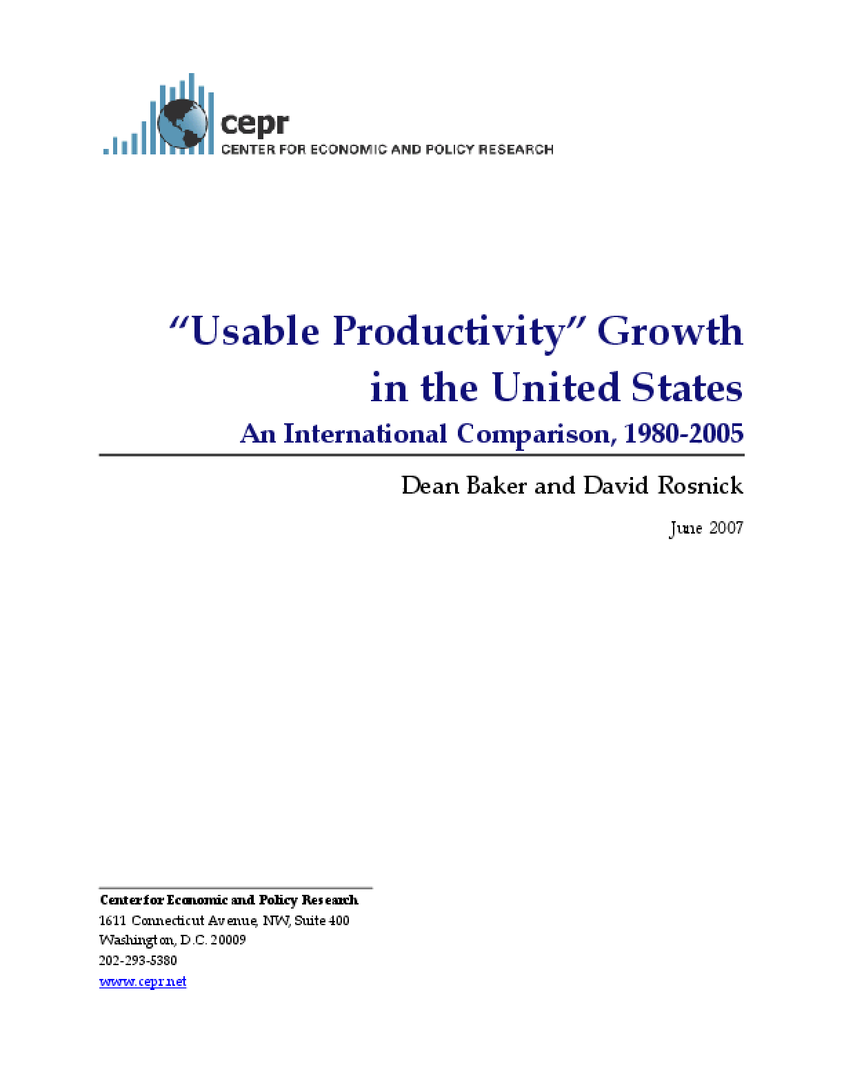 """Usable Productivity"" Growth in the U.S.: An International Comparison, 1980-2005"