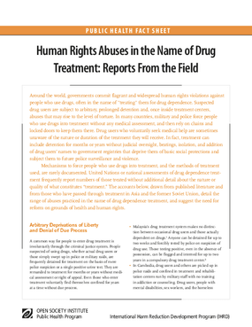 Human Rights Abuses in the Name of Drug Treatment: Reports From the Field
