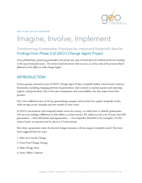 Imagine, Involve, Implement: Transforming Grantmaker Practices for Improved Nonprofit Results: Summary