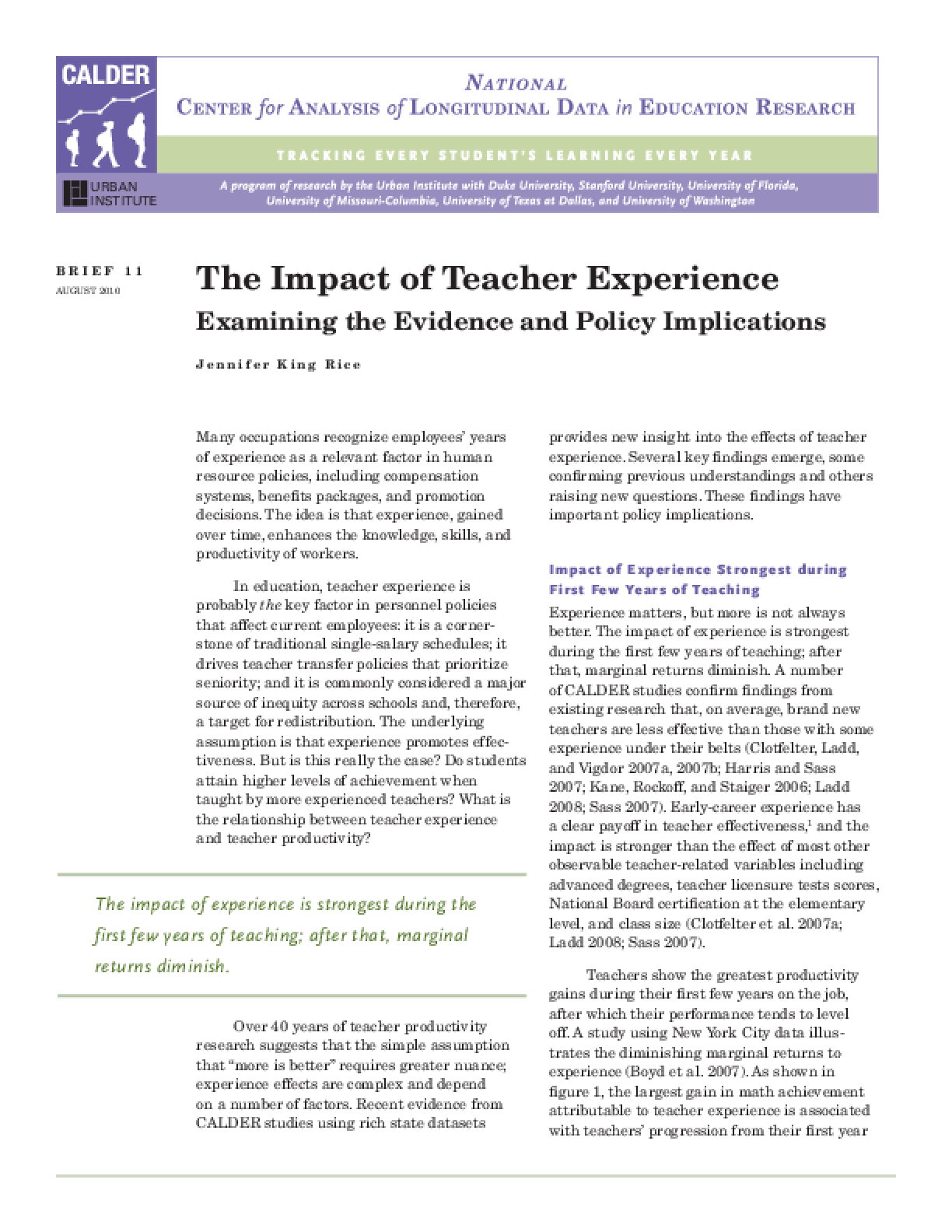 Key Findings From National Longitudinal >> The Impact Of Teacher Experience Examining The Evidence And Policy