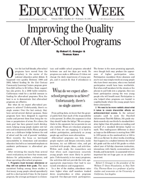 Improving After-School Program Quality