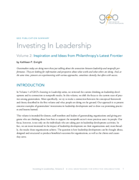 Investing in Leadership, Volume 2: Inspiration and Ideas from Philanthropy's Latest Frontier: Executive Summary