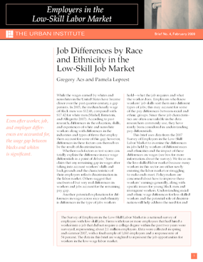 Job Differences by Race and Ethnicity in the Low-Skill Job Market