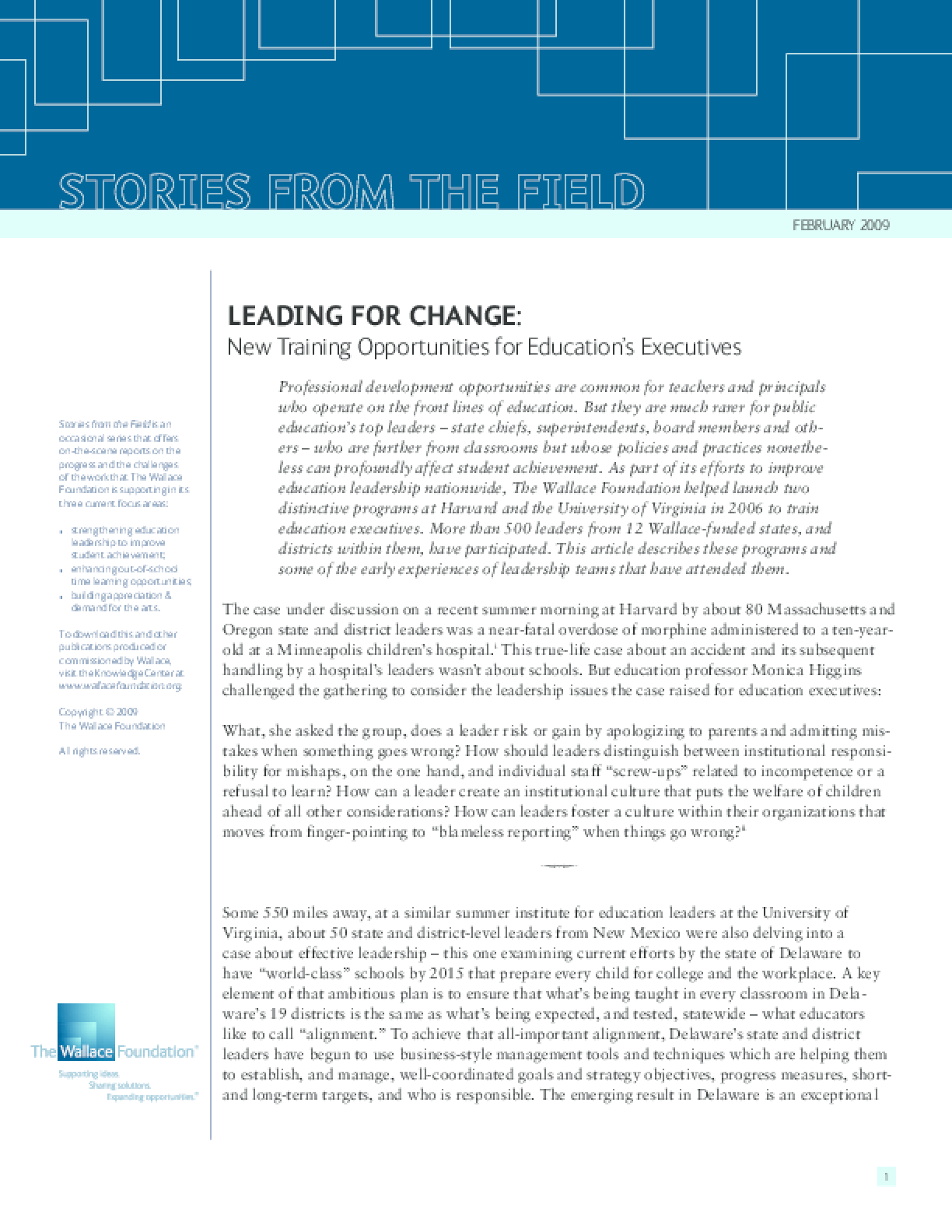 Leading for Change: New Training Opportunities for Education's Executives